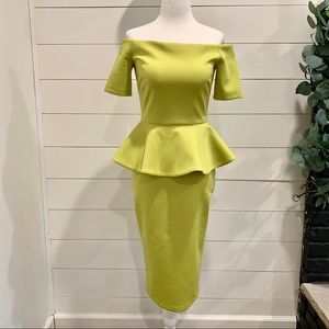 Off-the-Shoulder Peplum Midi Dress